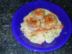 Bacon Wrapped Scallops with Spicy Shrimp Rice