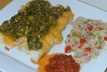 Cheezie Enchaladas with Vegetable Rice and Salsa
