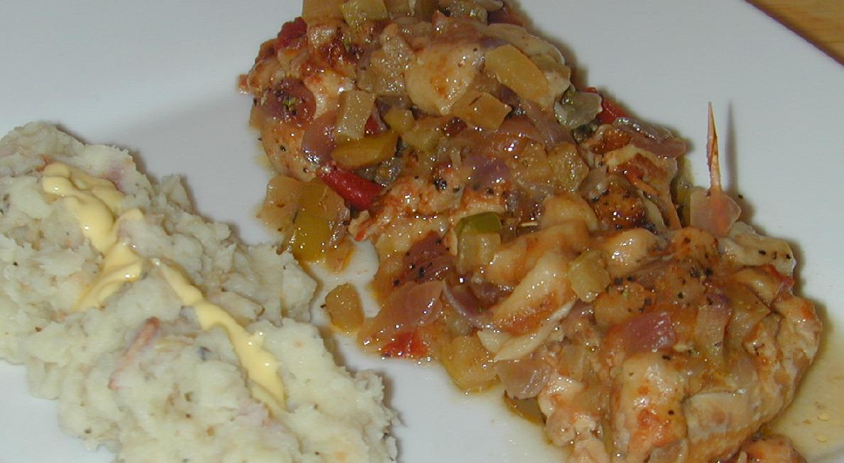 Apple and Onion Stuffed Chicken with Bacon and Garlic Mashed Potatoes